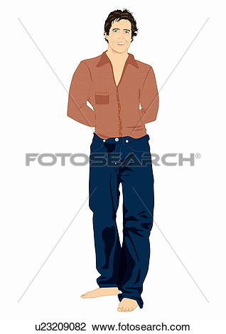 Clip Art of Casual man in jeans and brown shirt u23209082.