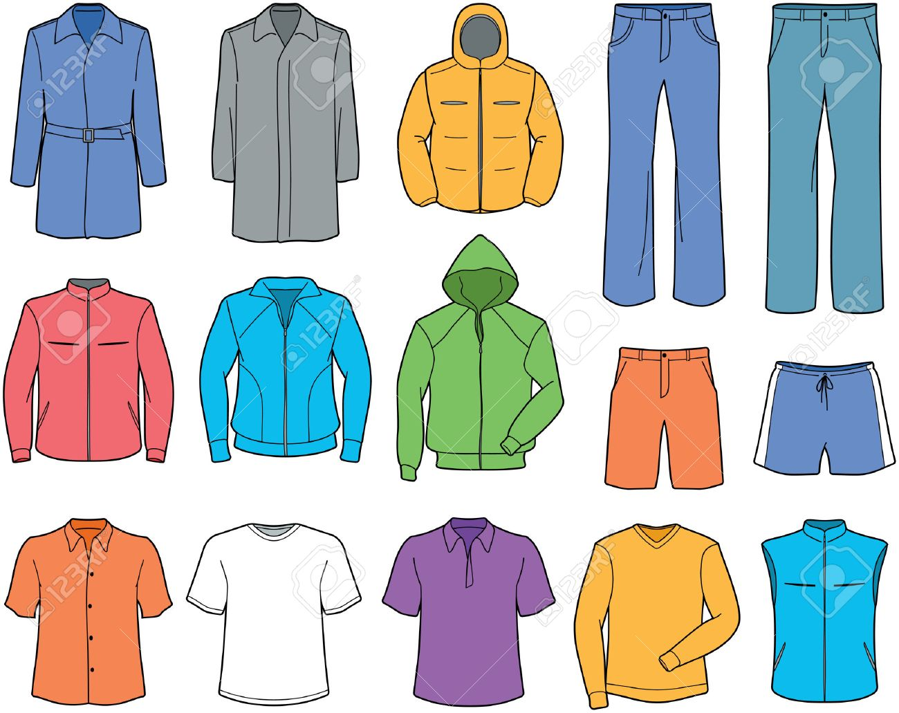 Men casual clothes and sportswear illustration.