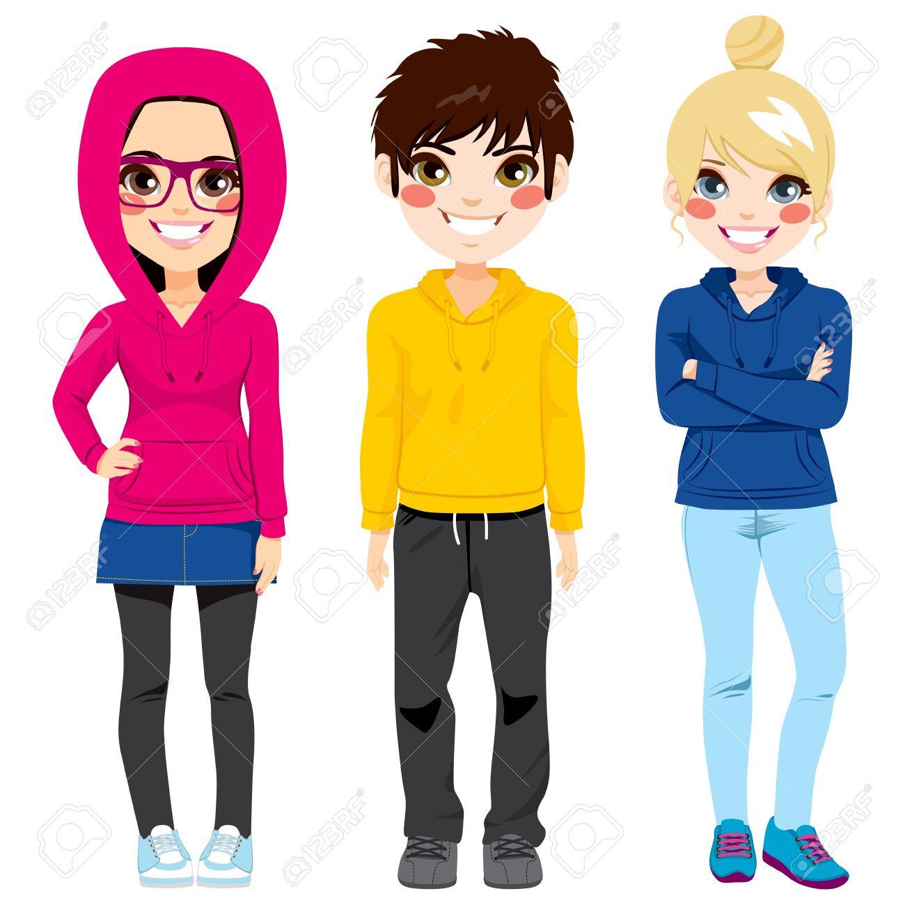 Young Teenagers Colorful Casual Clothes » Clipart Station.