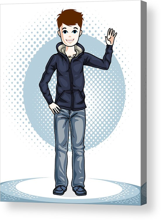 Little Boy Standing Wearing Fashionable Casual Clothes. Vector Beautiful  Human Illustration. Fashion Theme Clipart. Acrylic Print.