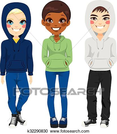 Young Teenagers Casual Clothes Clipart.