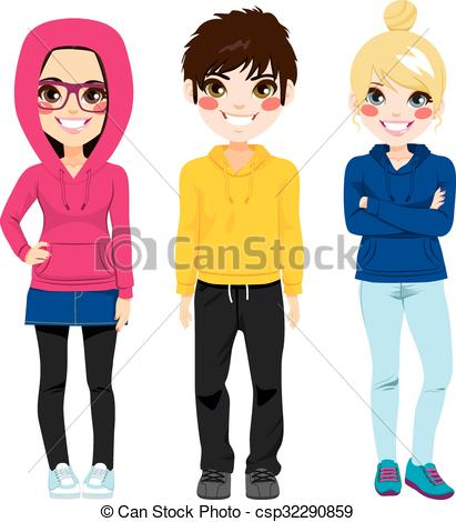 Clipart Vector of Young Teenagers Colorful Casual Clothes.