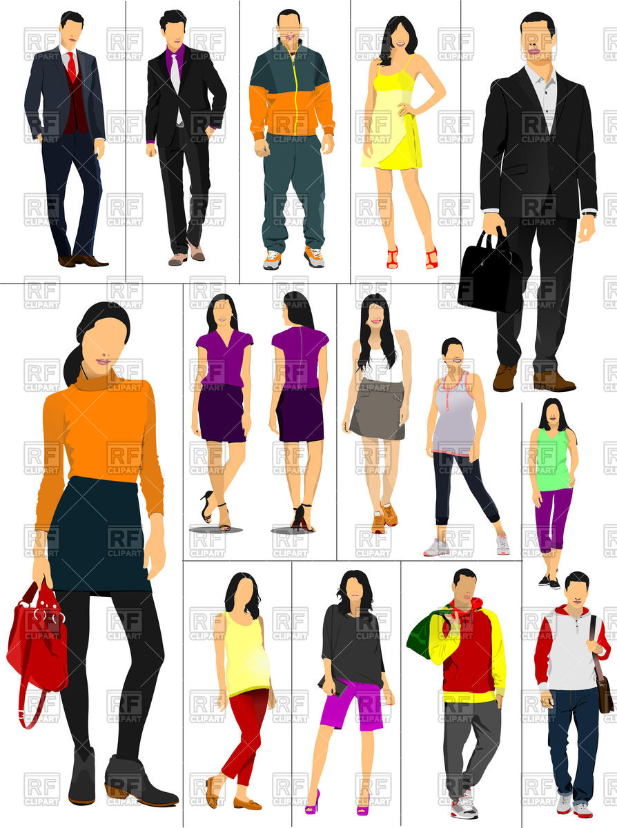 Woman in casual clothes clipart.