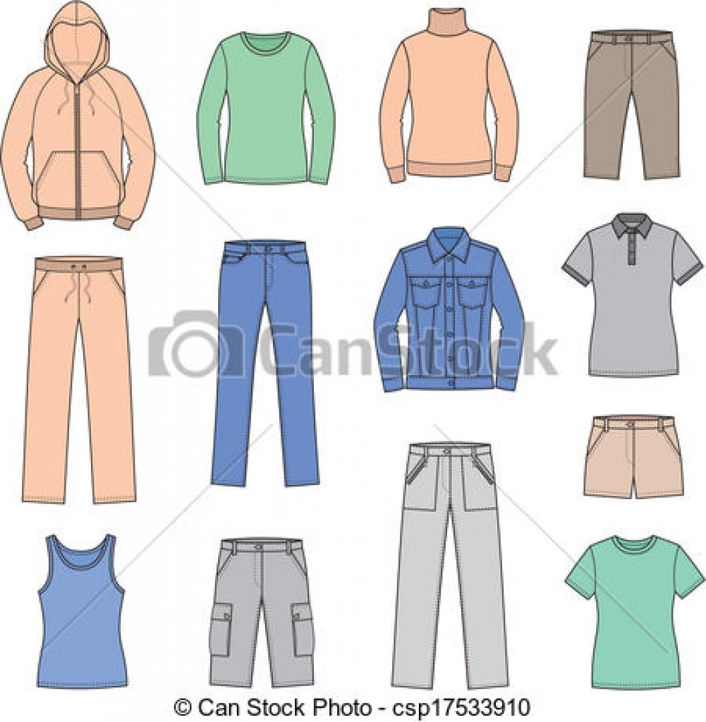 vector clip art of casual clothes vector illustration set of.