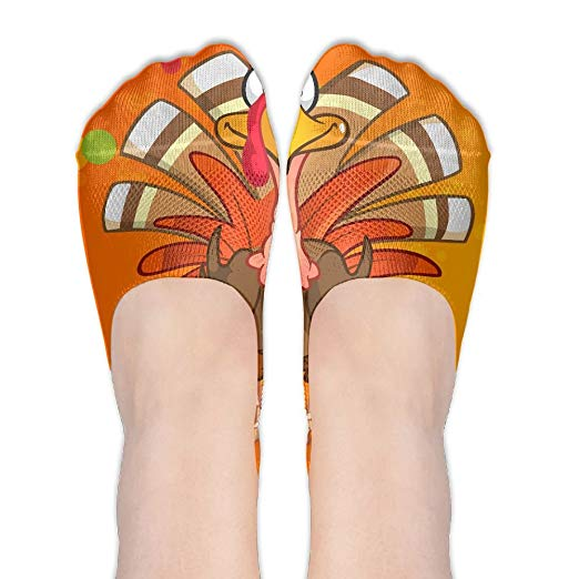 Happy ThanksGiving Day Turkey Clipart Low Cut No Show Socks.