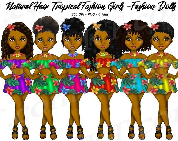 Casual Day Clipart, Natural Hair, Black Girls Clipart.