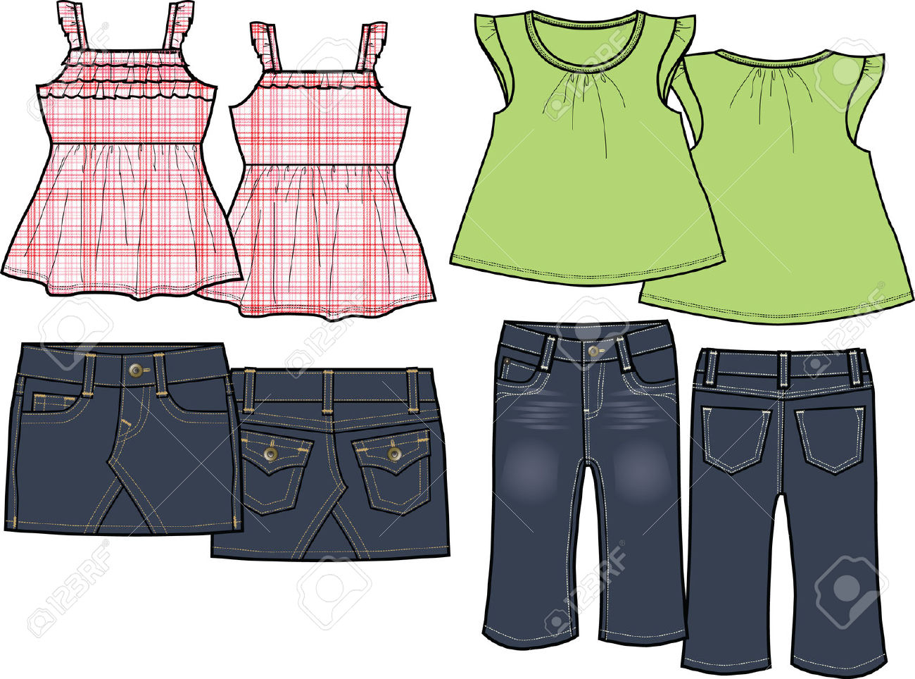 Kids Fashion Set Royalty Free Cliparts, Vectors, And Stock.