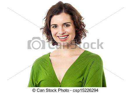 Stock Photographs of Joyous young caucasian lady in trendy casuals.