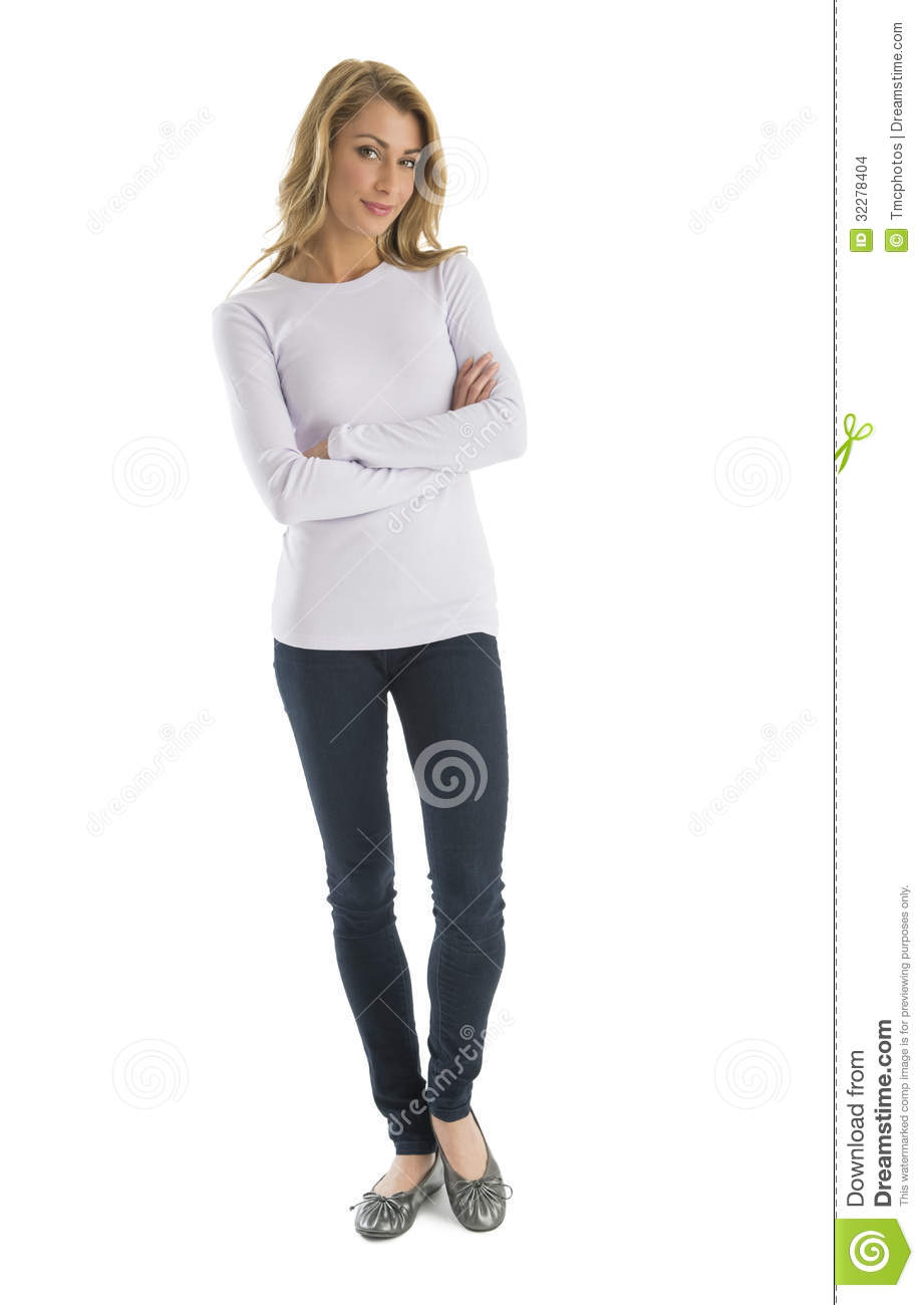 Confident Woman In Casuals Standing Arms Crossed Stock Images.