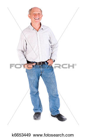 Stock Photograph of Aged grandpa posing in casuals k6653449.