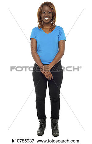 Picture of Young african girl posing in casuals and wearing boots.