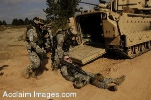 Clip Art Photo of U.S. Army Soldiers Loading Simulated Casualties.