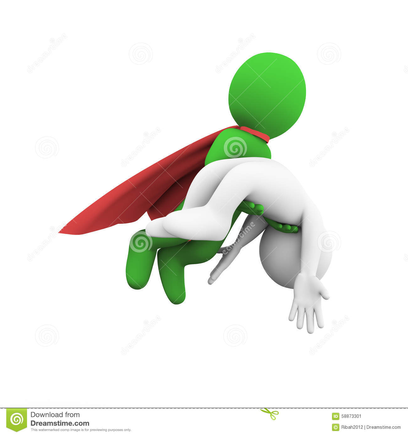 3d Flying Superman Super Hero Rescue Casualty Stock Illustration.
