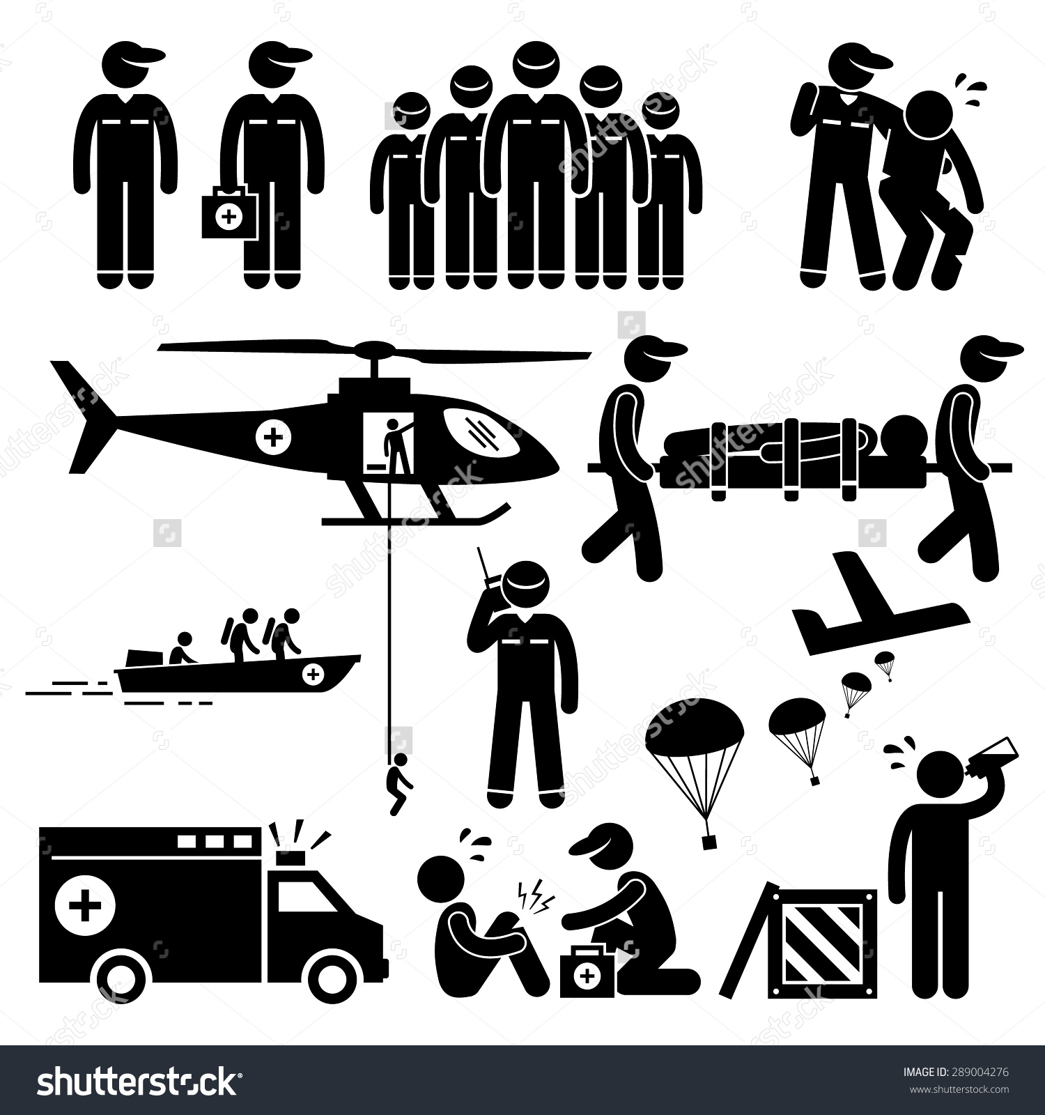 Emergency Rescue Team Stick Figure Pictogram Stock Vector.