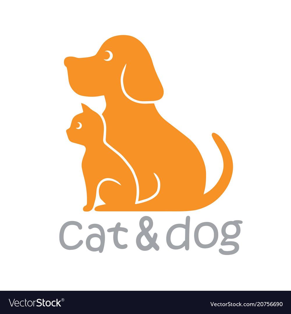 Cat and dog pet logo template.