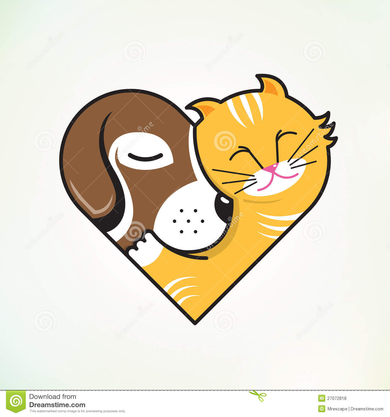 Cat And Dog Love Clipart.