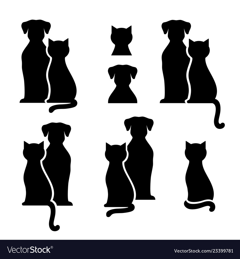 Set of abstract black cat and dog silhouettes.
