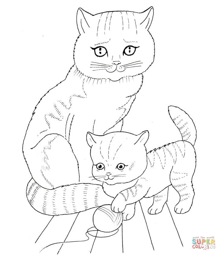 cat and kitten clipart black and white #7