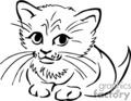 Kitten Clip Art Black And White.
