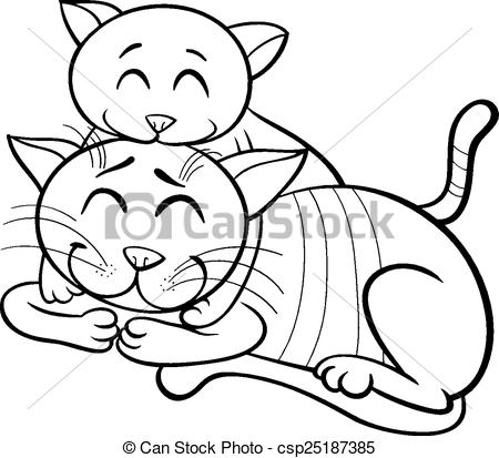 Vector of happy cat and kitten coloring book.