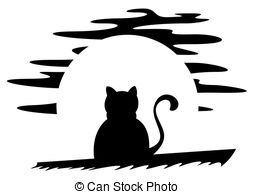 Cat silhouette moon cats halloween black animal Illustrations and.