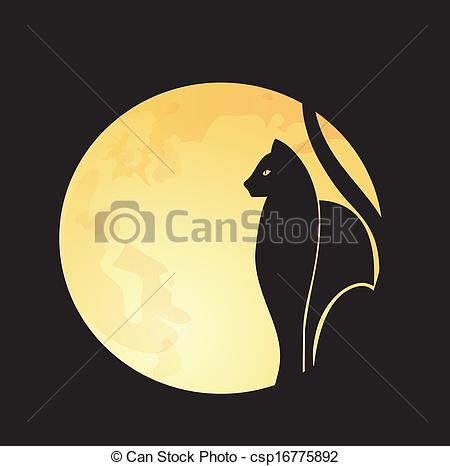 EPS Vectors of Black cat & full moon.