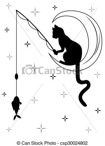 Vector Clipart of Black cat sitting on the moon and catches a fish.