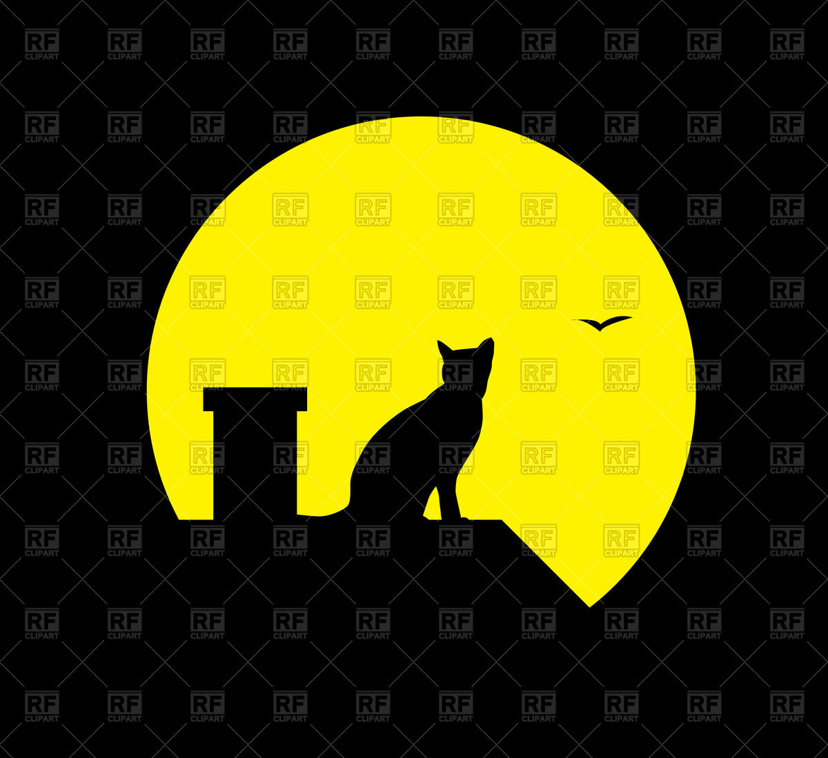 Silhouette of cat and moon on black background Vector Image #73189.