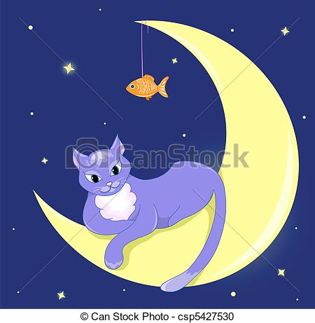 Vector Clipart of The cat lies on a half moon. Vector illustration.