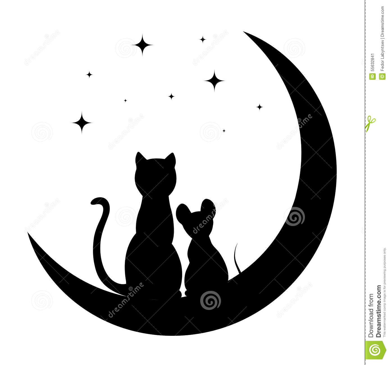 Cat Sitting Moon Night Sky Stock Illustrations.
