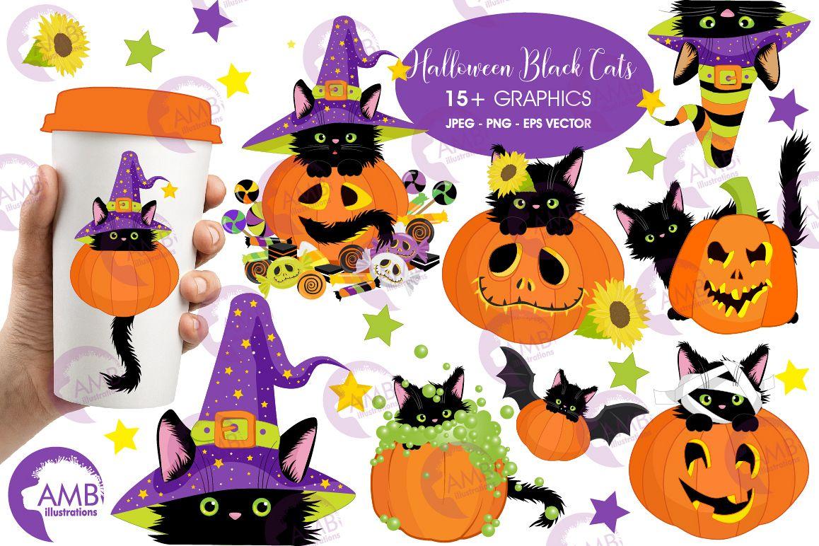 Halloween cat and pumpkins clipart, graphics,AMB.