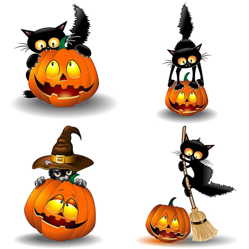 Happy Halloween clipart pumpkins and cat 2019 vector free.