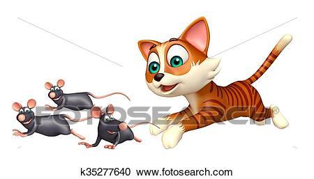 Cat hunting Rat Clipart.