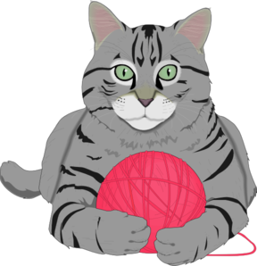 Cat With Pink Yarn Clip Art at Clker.com.