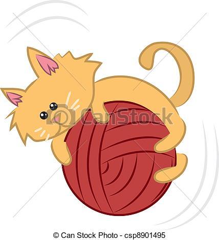 Kitten With Yarn Clipart.