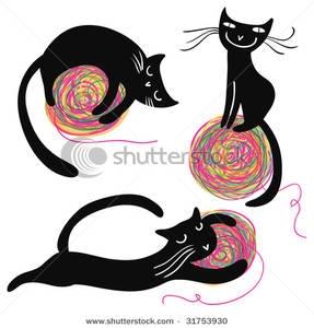 Similiar Cat With Yarn Clip Art Keywords.