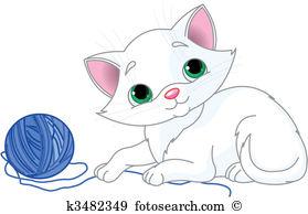 Cat yarn Clip Art Illustrations. 272 cat yarn clipart EPS vector.