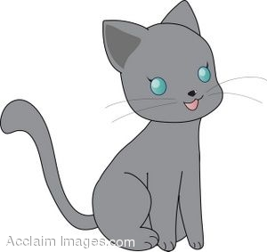 Clipart Illustration of a Little Gray Kitten.