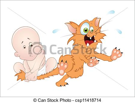 Vector Clip Art of Naughty Baby with Cat.