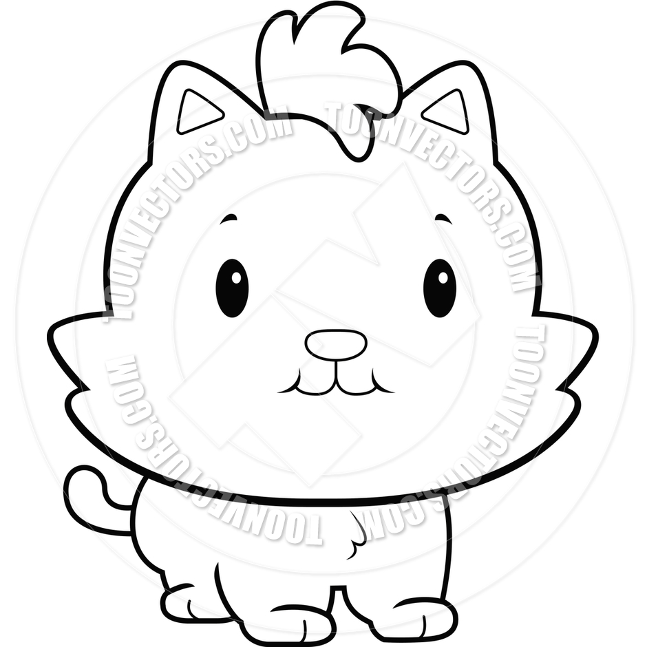 Cute Baby Cat (Black and White Line Art) by Cory Thoman.
