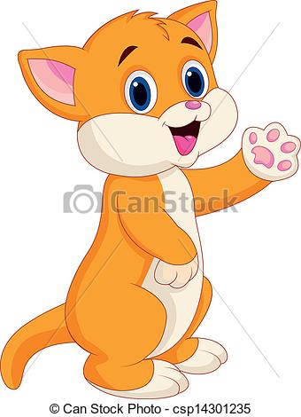 Vectors of Cute baby cat cartoon.