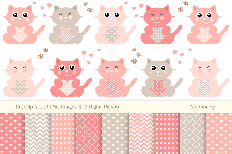 Pink Cat Clip Art CATS CLIP ART Baby Girl Shower.