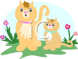 Mother Cat And Baby Kitten Standing In A Flower Patch.