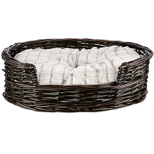 Amazon.com : HARMONY Wicker Cat Bed with Faux Fur Insert.