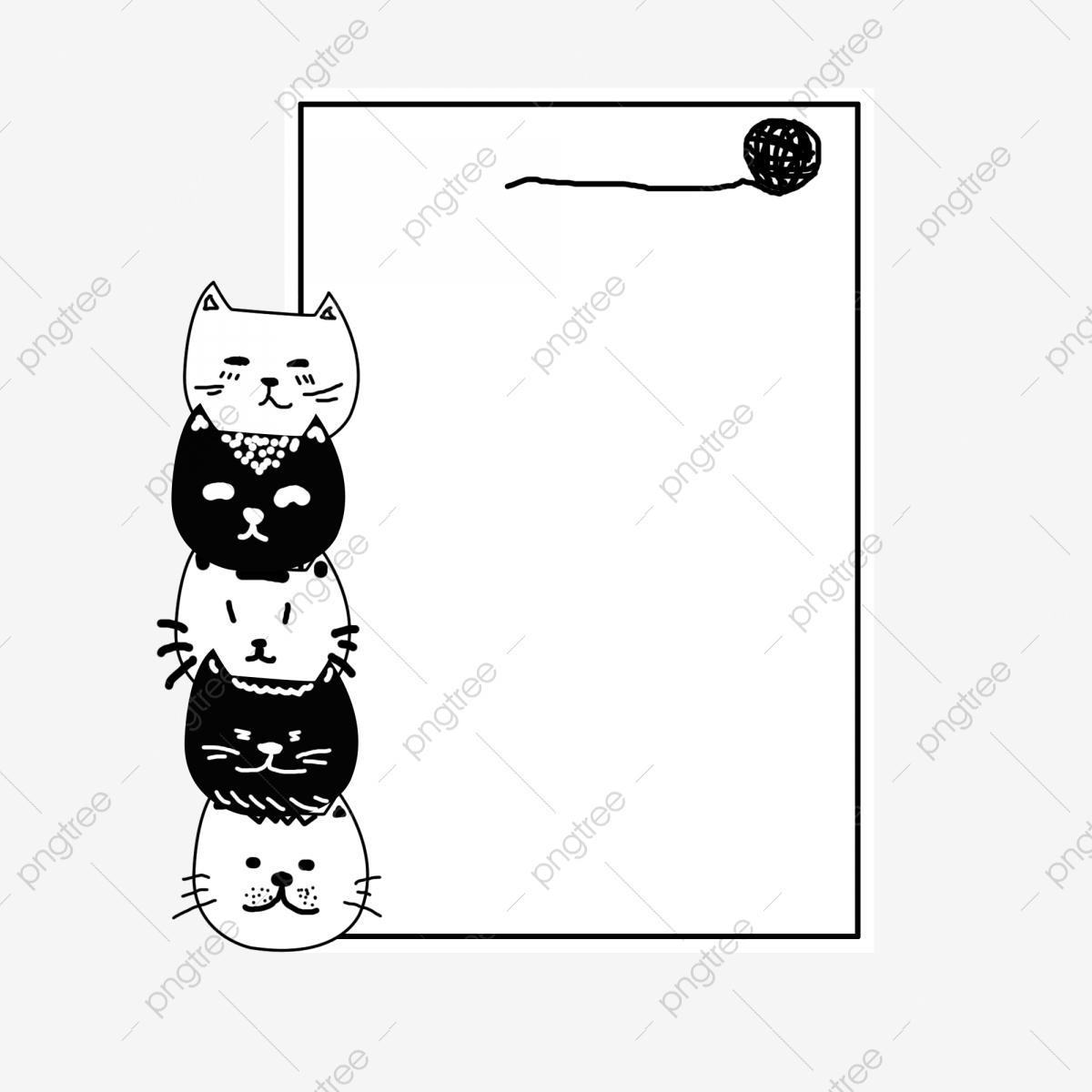 Creative Border Black Line Border Hemp Group Cat Border, Animal.