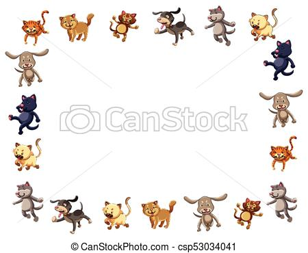 Border template with cute cats and dogs.