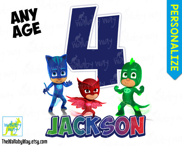 PJ Masks Birthday Printable Iron On Transfer or Use as Clip Art.