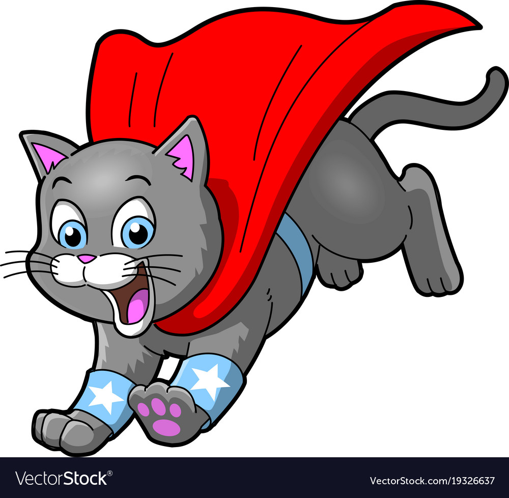 Cat superhero pet cartoon clipart.