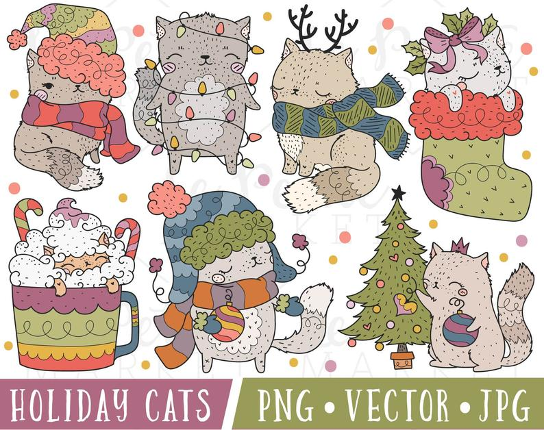 Holiday Cats Clipart Images, Christmas Cat Clipart, Cat Christmas Clipart,  Holiday Cat Illustration Set, Cute Winter Cats Clipart PNG.