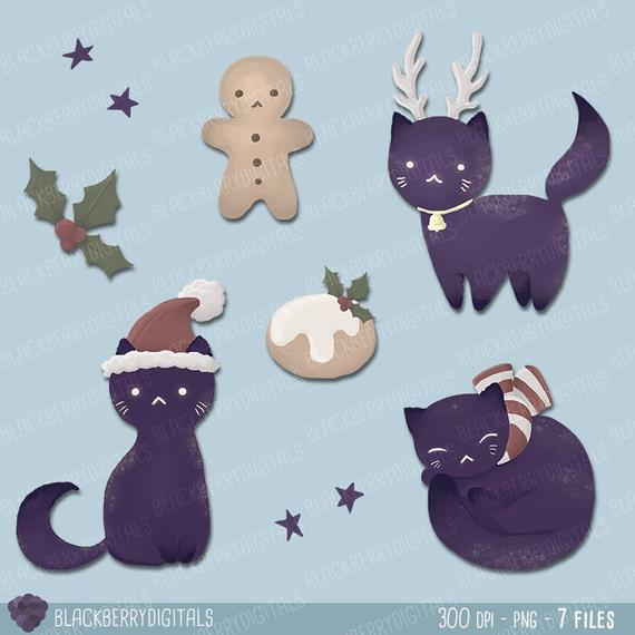 Christmas Clipart Set, cat christmas clip art, christmas vector, christmas  digital art, cat clip art commercial use with Instant Download.